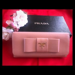 Soft Pink Safiano Leather Prade Bifold wallet 💯%